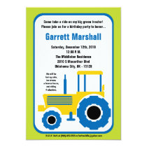 5x7 Yellow Blue Farm Tractor Birthday Invitation