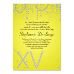 "5x7 Yellow Diamond Quinceanera Birthday Invitation 5"" X 7"" Invitation Card"