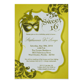 5x7 Yellow Masquerade Mask 16 Birthday Invitation