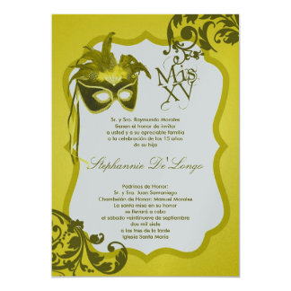 5x7 Yellow Masquerade Mask Quinceanera Invitation