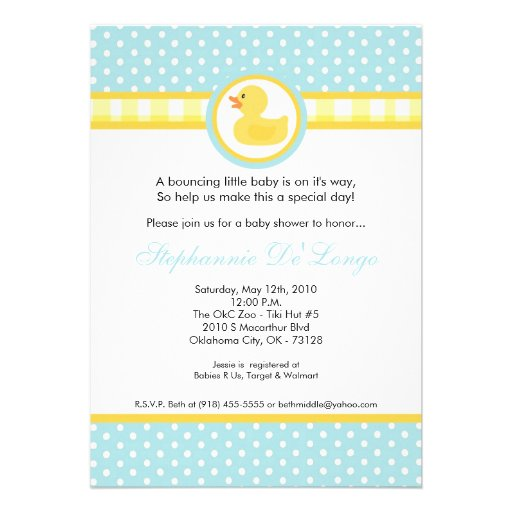 5x7 Yellow Rubber Ducky Baby Shower Invitation