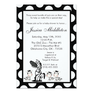 5x7 Zebra Mama TRIPLET Baby Shower Invitation