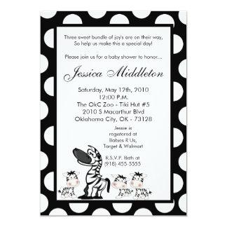 5x7 Zebra Mama TRIPLET Baby Shower Invitation
