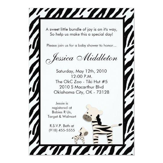 5x7 Zebra Momma and Baby Baby Shower Invitation
