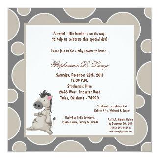 5x7 Zebra Pok-a-Dot Baby Shower Card