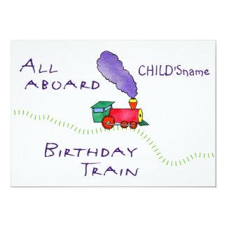 5x7All aboard (child's name) Birthday Train Invite