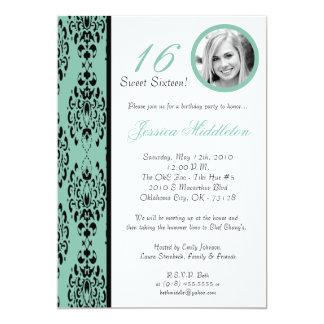 5x7Tiffany Blue Damask 16 Birthday Party Invtation Card