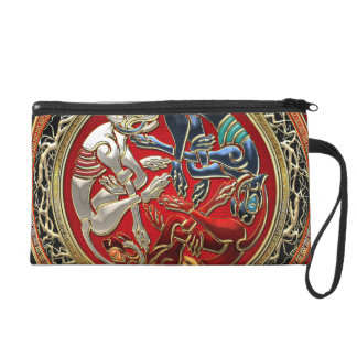 600 Celtic Treasures - Three Dogs on Gold Wristlet Clutches