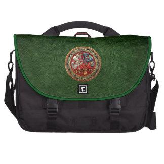 600 Celtic Treasures - Three Dogs on Gold Laptop Messenger Bag
