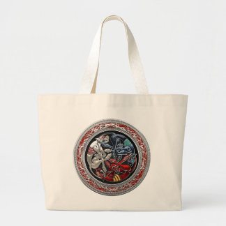 600 Celtic Treasures - Three Dogs on Silver Canvas Bag