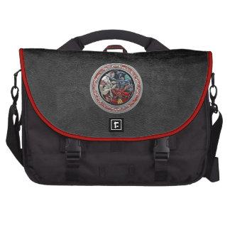 600 Celtic Treasures - Three Dogs on Silver Laptop Messenger Bag