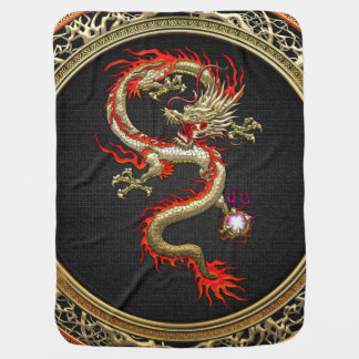 [600] Golden Chinese Dragon Fucanglong Stroller Blanket