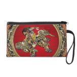 [600] Hokusai - Shoki Riding Shishi Lion Wristlet Clutch