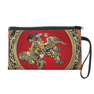 [600] Hokusai - Shoki Riding Shishi Lion Wristlet Purse