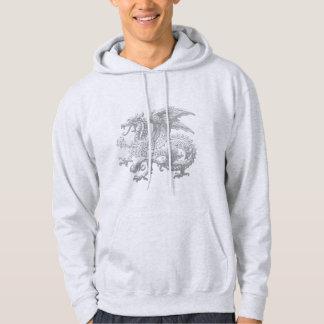 [600] Icelandic Dragon, Landvættir [Silver] Hooded Sweatshirt