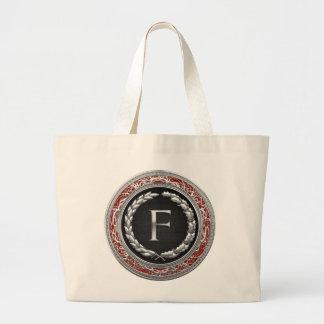 "[600] monograma de plata del vintage de ""F"" Bolsa De Tela Grande"