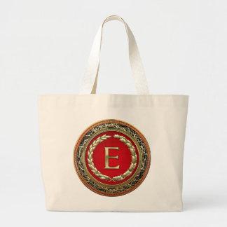 "[600] monograma del vintage del oro de ""E"" Bolsa De Tela Grande"