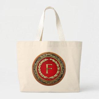 """[600] monograma del vintage del oro de """"F"""" Bolsa De Tela Grande"""