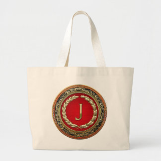 "[600] monograma del vintage del oro de ""J"" Bolsa De Tela Grande"