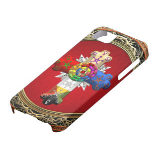 [600] Rosy Cross (Rose Croix) on Red & Gold Cover For iPhone 5/5S