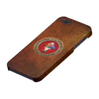 [600] Rosy Cross (Rose Croix) on Red & Gold Case For iPhone 5/5S