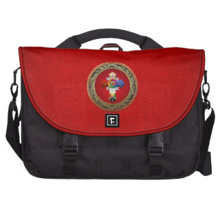 [600] Rosy Cross (Rose Croix) on Red & Gold Laptop Bags