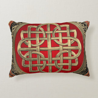 [600] Sacred Celtic Gold Knot Cross Accent Pillow