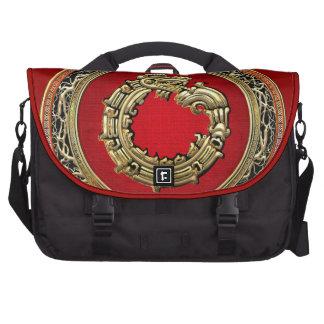 [600] Serpent God Quetzalcoatl [Gold] Laptop Commuter Bag