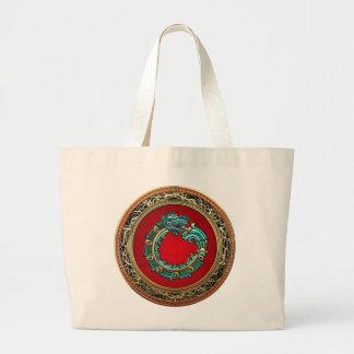 600 Serpent God Quetzalcoatl Jade Canvas Bags
