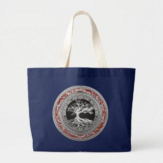 [600] Treasure Trove: Celtic Tree of Life [Silver] Large Tote Bag