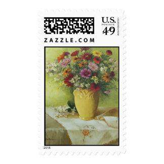 6021 Zinnias en franqueo amarillo del florero de M