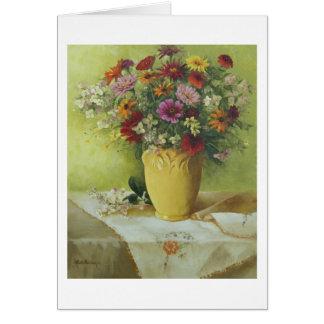 6021 Zinnias in Yellow McCoy Vase Greeting Card