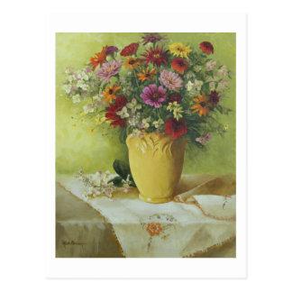 6021 Zinnias in Yellow McCoy Vase Postcard