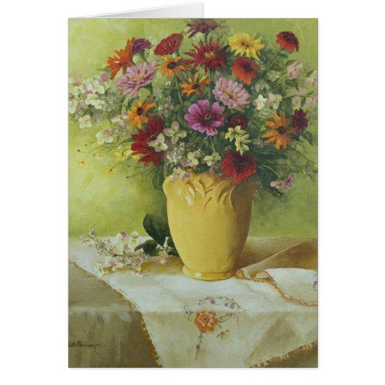 6021 Zinnias in Yellow Vase Birthday Card