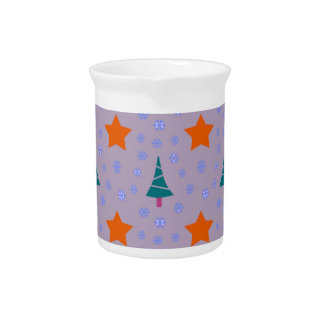 602 Cute Christmas tree and stars pattern.jpg Drink Pitcher