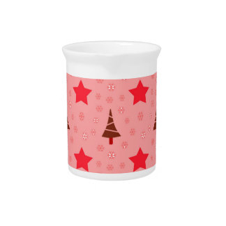 603 Cute Christmas tree and stars pattern.jpg Drink Pitcher