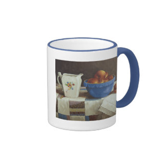 6044 Bowl of Peaches & Pitcher on Quilt Mug