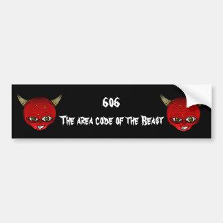 606 el código de área de la bestia pegatina para auto