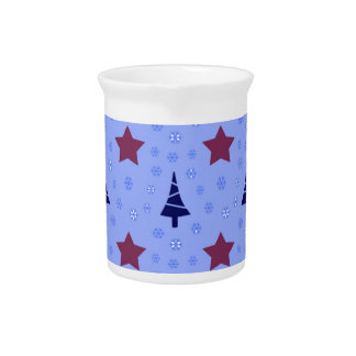 608 Cute Christmas tree and stars pattern.jpg Beverage Pitcher