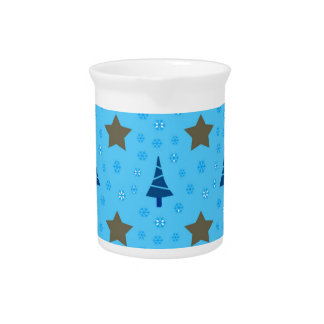 609 Cute Christmas tree and stars pattern.jpg Beverage Pitcher