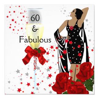 """60 60.os rosas rojos fabulosos de la fiesta de invitación 5.25"""" x 5.25"""""""