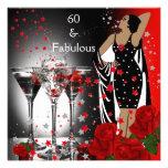 60 60.os rosas rojos fabulosos Martini de la fiest Comunicados Personalizados