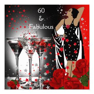 """60 60.os rosas rojos fabulosos Martini de la Invitación 5.25"""" X 5.25"""""""