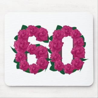 60  60th birthday wedding anniversary pink number mouse pad
