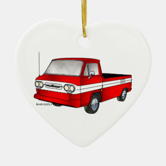 60-61 Corvair Rampside Pickup Double-Sided Heart Ceramic Christmas Ornament
