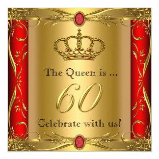 """60.a fiesta de cumpleaños de la reina o de rey invitación 5.25"""" x 5.25"""""""