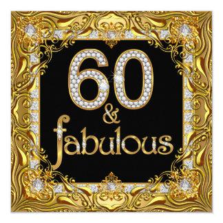 """60.a fiesta de cumpleaños del oro 60 del negro invitación 5.25"""" x 5.25"""""""