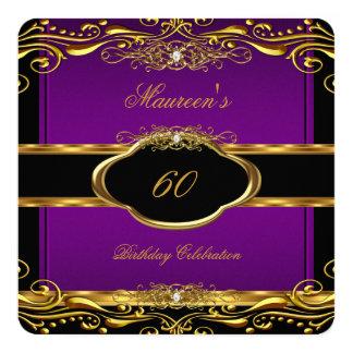 """60.a fiesta de cumpleaños del oro púrpura elegante invitación 5.25"""" x 5.25"""""""