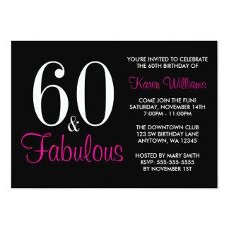 60.a invitación rosada negra fabulosa de la fiesta