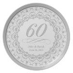 60.a placa personalizada del aniversario plato de comida